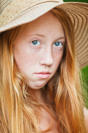 red hair girl: Portrait of young girl with red hair, summer style outdoor image Stock Photo