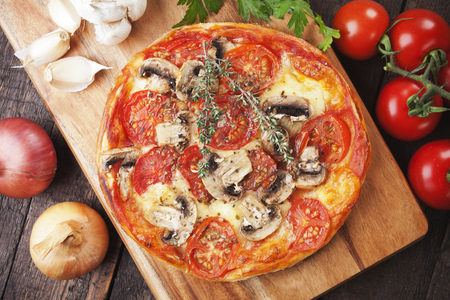 pastries: Puff pastry pizza margherita with cheese and tomato Stock Photo