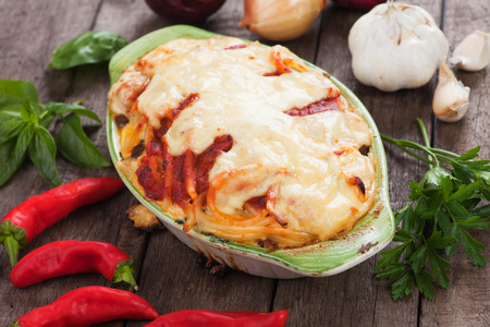 greek food: Pasticcio or pastitsio with zucchini and cheese, italian baked pasta