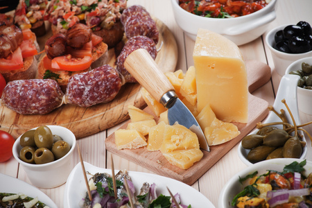 antipasto: Tapas, antipasto or meze, traditional mediterranean cold buffet food Stock Photo