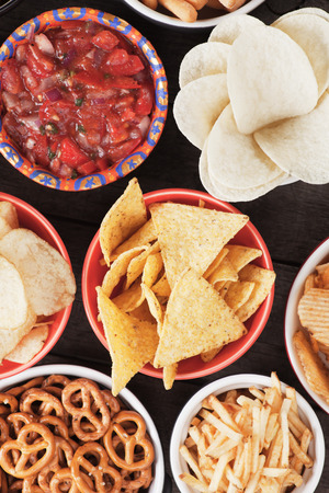 tortilla chips: tortilla chips and other salty snacks with homemade salsa