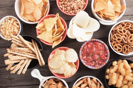 salty: Salty crackers, tortilla chips and other savoury snacks with salsa dip