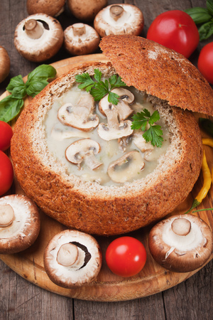 mushroom soup: Creamy portabello mushroom soup served in wholegrain bread Stock Photo