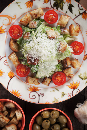 ensalada cesar: Caesar salad wit roman lettuce, parmesan cheese, croutons and dressing