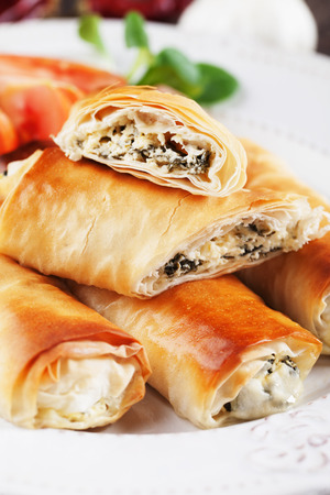 balkans: Pita zeljanica, balkans rolled phyllo pastry filled with spinach and cheese Stock Photo