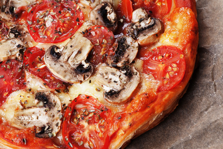 puff pastry: Puff pastry funghi pizza with mushrooms, tomato and cheese