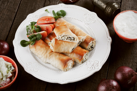 balkans: Pita zeljanica, balkans phyllo pastry rolls with spinach and cheese