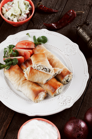 balkans: Pita zeljanica, balkans phyllo pastry rolls filled with cheese and spinach or chard