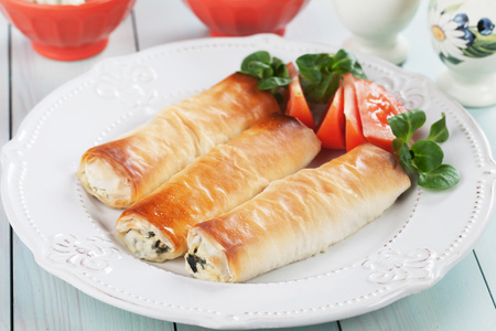 balkans: Pita zeljanica, balkans phyllo pastry filled with spinach and cheese Stock Photo