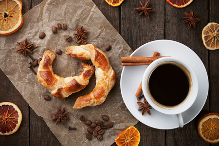 aromatic: Fresh home made croissants with black coffe and aromatic spices