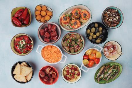 antipasto: Mediterranean cold buffet food known as tapas, antipasto or mezze Stock Photo