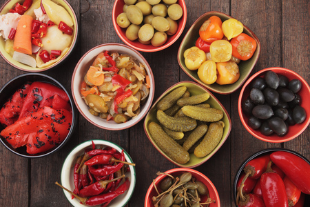 caper: Pickled cucumber, peppers, chili, olives and caper fruit