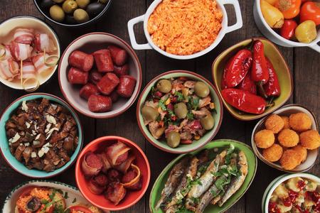 antipasto: Mediterranean cold buffet food known as tapas, antipasto or meze