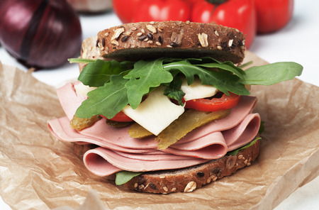 bologna baloney: Baloney or Bologna sausage sandwich with cheese, tomato and rocket salad