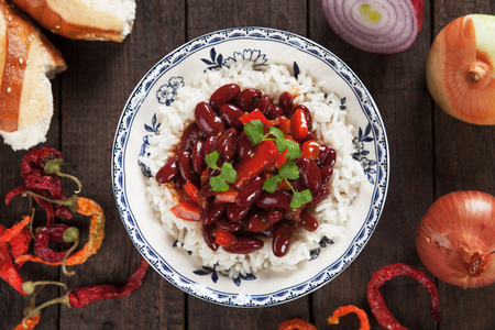 red cooked: Rice and red kidney beans, brazilian staple food meal