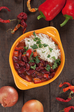 red cooked: Cooked rice and red kidney beans, brazilian food staple meal