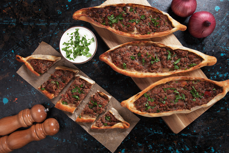 Turkish pide, traditional meat and vegetables meal similar to pizza Stock fotó