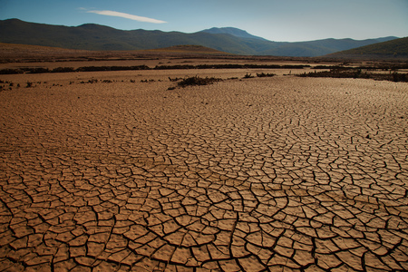 Cracked drought land, result of climate change and global warming