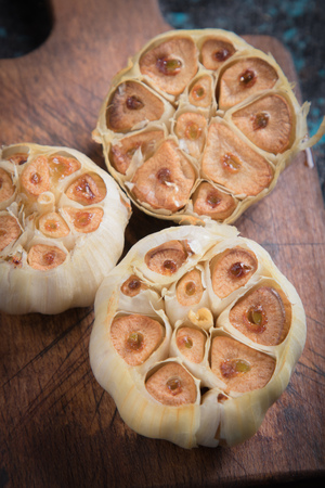 Roasted garlic bulbs, used in soups, sauces and stews