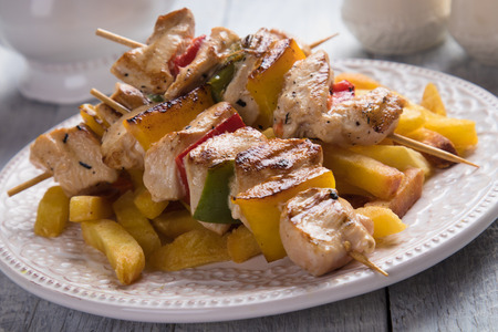Grilled chicken meat on skewer as prepared in Greece and Turkey