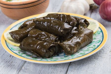 Stuffed grape leaves filled with rice or meat stuffing Reklamní fotografie