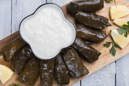 Stuffed grape leaves filled with rice or meat stuffing