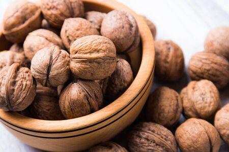 Whole walnut shells or kernels, healthy food ingredient