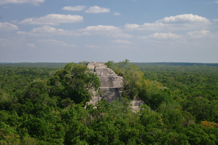 mayan culture: The pyramid structure of 1 in the complex rises over the jungle of Calakmul, Mexico Stock Photo