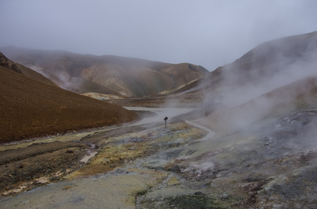 crater highlands: Geothermal Valley Kerlingarfjoll, Iceland Stock Photo