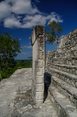 calakmul: Stone tiles on the steps of the pyramid at Calakmul, Mexico Stock Photo