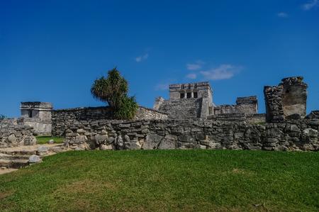 mayan riviera: Tulum, Mayan Ruins Besides Caribbean Sea. Riviera Maya, Traveling America. Stock Photo
