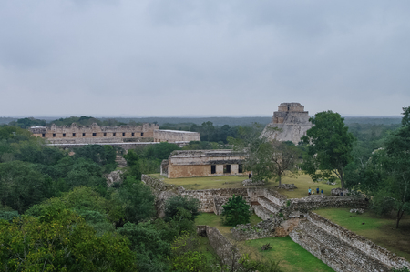 archaeological: Panorama of  archaeological area Uxmal,. Mexico Stock Photo
