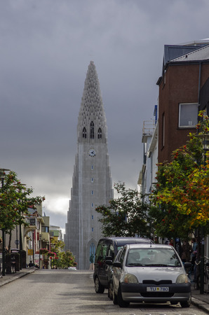 september 2: Reykjavik, Iceland - september 2, 2014: View of Skolavordustigur street leading to the Hallgrimskirkja Church, one of the landmarks of Reykjavik, the capital city of Iceland.