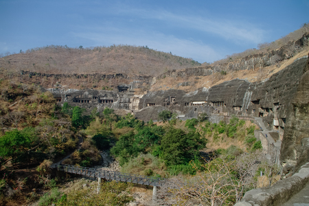 2nd century: Ajanta caves near Aurangabad, Maharashtra state in India. amazing site of ancient buddhist temples, carved in the rock as large caves. Started 2nd century BC. Unesco World Heritage.