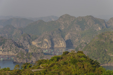 cat island: View to Ha Long bay from Cannon Fort of Cat Ba Island, Vietnam