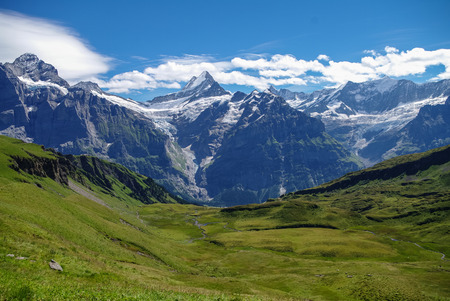 jungfrau: Sunny day view to the mountains vally from top of Mannlichen (Jungfrau region, Bern, Switzerland)