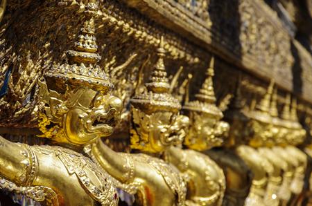 garuda: Golden Garuda of Wat Phra Kaew at Bangkok, thailand Stock Photo