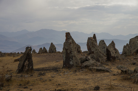 prehistory: Big megalithic menhirs of Zorats Karer Carahunge - prehistory megalithic monument in Armenia Stock Photo