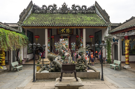 cantonese: Hoi An, Vietnam - 7 january 2015: Dragon Sculptures At Hoi Quan Quang Trieu Temple Cantonese Assembly Hall, Hoi An, Vietnam