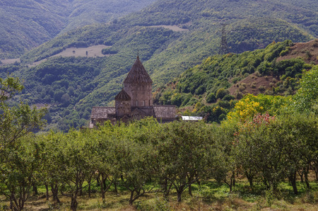tatev: Medieval Tatev monastery, Armenia, about IX century, big building is church of st. Poghos and Petros.Monastery is above the river Vorotans canyon. Goris region.