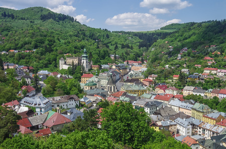 mining town: Banska Stiavnica panorama. Historical medieval mining town in Slovakia, with castle and cathedral.