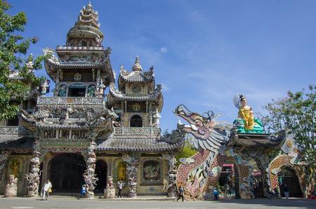 lat: Dalat, Vietnam - january 9, 2015. Famous mosaic Linh Phuoc pagoda at Da Lat City, Lam Dong province, Vietnam.