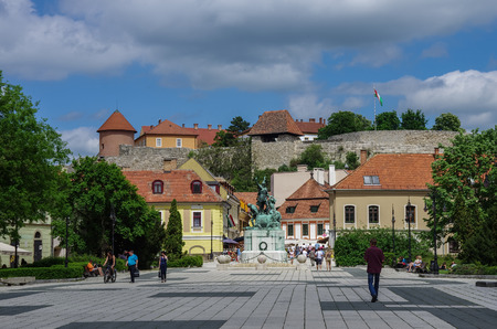 Eger, Hungry - May 12,. 2013: Dobo square of Eger medieval town with castle on background. Hungry. Editorial