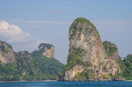 railay: Beautiful limestone rock at Railay beach, Krabi province, Thailand