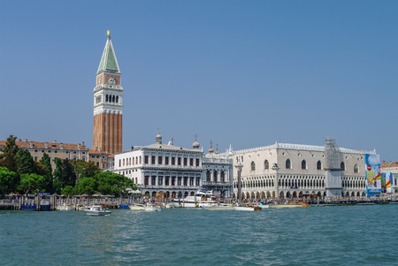 campanille: Venice, Italy - August 26,2010: Doges Palace and St Marks Campanile Editorial