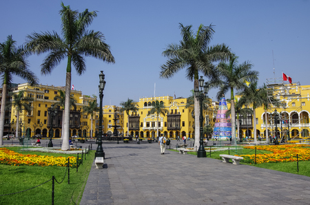 plaza de armas: Plaza Mayor (formerly, Plaza de Armas) in Lima, Peru with christmas tree, in sunny day. Stock Photo