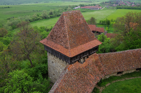View from tower of Viscri fortified church (castle), Transylvania, Romania, UNESCO heritage