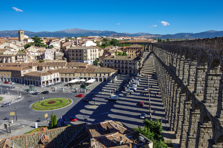castilla y leon: The famous ancient aqueduct in Segovia, Castilla y Leon, Spain Stock Photo