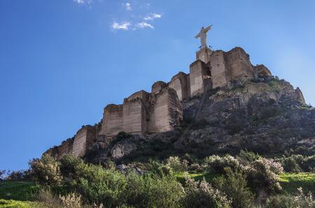 murcia: Statue christ. Castillo de Monteagudo,medieval castle, Murcia, Spain.