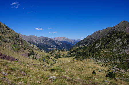 coma: Panorama of the Pyrenees mountains in Andorra, from top of Coma Pedrosa peak.